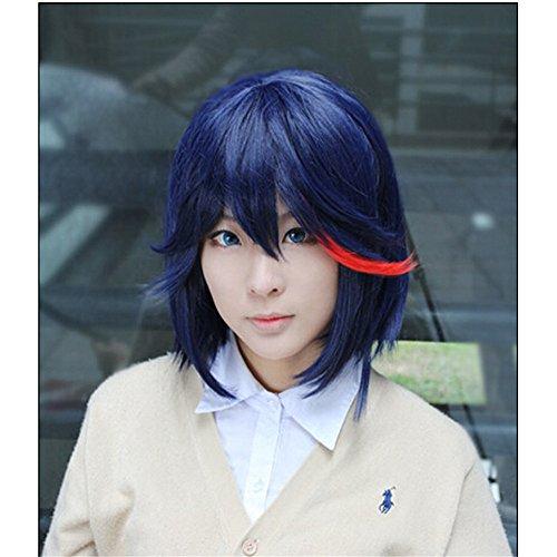 (LanTing Cosplay Perücke Kill la kill Perücke Corta blue mix Cosplay Party Fashion Anime Human Costume Full wigs Synthetic Haar Heat Resistant Fiber)