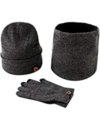 Men Women Hat Scarves Gloves Set Thermal Winter Warm Knitted Beanie Hat  Neck Warmer and Touchscreen 44a169727bac