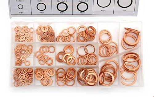 Falon Tech 220 Kupfer Unterlegscheiben Dichtung Dichtring außen ø 8-27 mm innen-ø 4-22 mm 220-tlg. im Aufbewahrungsbox/Sortimentsbox -
