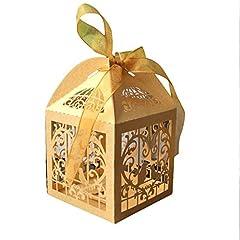 Idea Regalo - iShine 50 pz Carta di Bomboniera per Matrimoni con Nastro per Festa di Compleanno Matrimonio Cioccolato Caramelle e Sacchetti Regalo/Scatole Regalo(uccelli,D'oro)