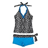 FEESHOW Mädchen 2-Teiler Bademode Tankini Bikini Set Swimwear Badeanzug Schwimmanzug 128-164 Blau 164