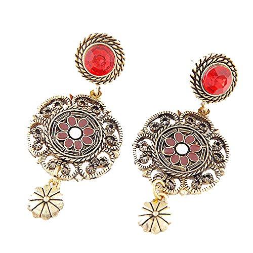 Rojo y Marrón con textura de filigrana gota de girasol lámpara de araña Pendientes