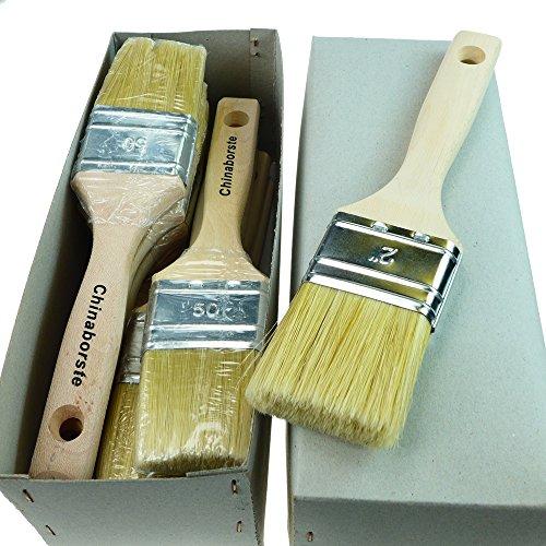 ROTIX-915x 6 x Flachpinsel Lackier-Pinsel 50 mm   6er-Pack   6. Stärke 50 mm   für Maler (helle Borste)