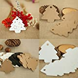 Sevenfly 50pcs Christmas Tree Tags Kraft Paper Hanging Ornament Gift Tags Parcel Tags Luggage Label String Pendant Decal, Brown