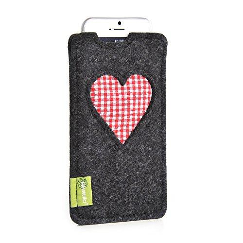"""Almwild® Hülle Tasche für Apple iPhone 8, 7, 6 MIT Apple Leder Case/Silikon Case. Modell """"Gschbusi"""" in Schiefer- Grau, Schwarz. Handyhülle handgefertigt in Bayern"""