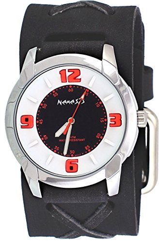 Nemesis #FXB106KO Men's Embossed Design Collection Black Distressed Wide Leather Cuff Band Watch