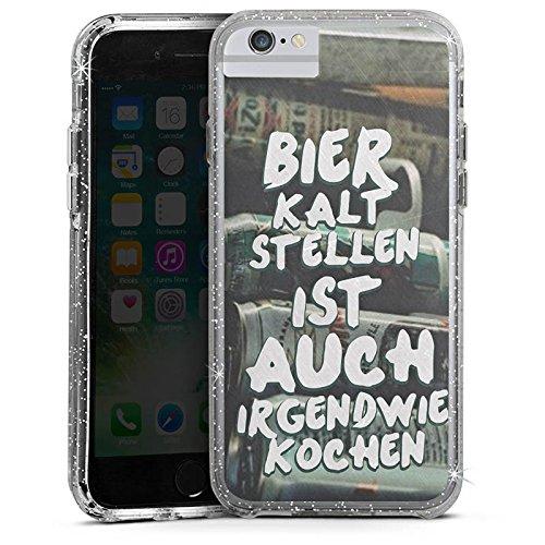 Apple iPhone X Bumper Hülle Bumper Case Glitzer Hülle Beer Bier Kochen Bumper Case Glitzer silber