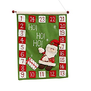 Artistic9 Wall Calendar, Hanging Calendar, Countdown Calendar, Tapestry, DIY Calendar, Christmas Decoration, Fabric, Green, Size: 40x50cm