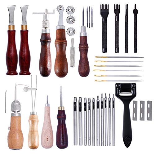 RongDuosi DIY Leder Werkzeugset, Diamant Leder Art Tools, handgefertigt, Hand Nähen Set Tool Kit Elektrowerkzeuge eingestellt