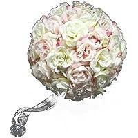 QHGstore 18 centimetri fiore della Rosa palle nuziale sfera Bouquet Romantic Flower per la festa nuziale rosa chiaro - Belle Cristallo Vasi