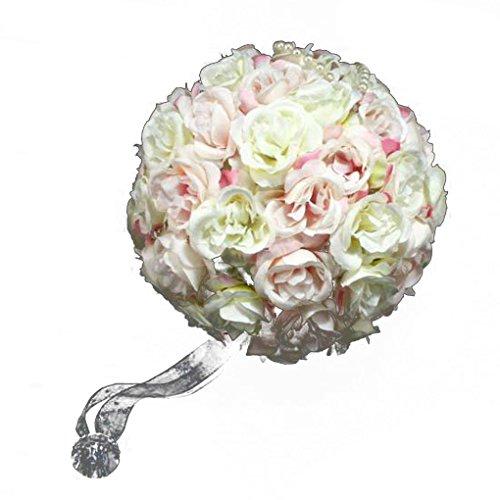 Nesno 18 centimetri fiore della Rosa palle nuziale sfera Bouquet Romantic Flower per la festa nuziale rosa chiaro - Fiore Di Seta Accenti