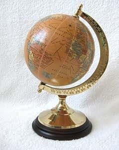 globus antik erdkugel mit messing holzfu 23cm deko k che haushalt. Black Bedroom Furniture Sets. Home Design Ideas