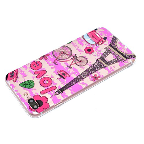 3 Pack Schutzhülle für iPhone 7 Plus, Rosa Schleife Ultra Dünn Soft TPU Silikon Hülle Backcover Case für iPhone 7 Plus Transparent Handyhülle Bunte Muster Cover Rosa Blume Eiffelturm