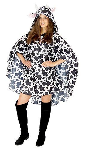 Foxxeo Kuh Party Poncho für Damen und Herren zu Karneval Fasching Party Regen Schnelles Kostüm