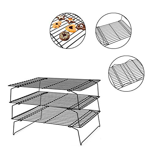 torage Shelf 3 Layer Folding Carbon Steel Cooling Baking Drying Stand Rack - Fruit Rack Shelf Tray Cupcake Muffin Layer Slicer Display Tier Dessert Wood Coffee Gold White Co ()