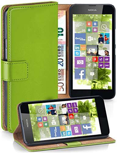 moex® Booklet mit Flip Funktion [360 Grad Voll-Schutz] für Nokia Lumia 630 | Geldfach und Kartenfach + Stand-Funktion und Magnet-Verschluss, Grün