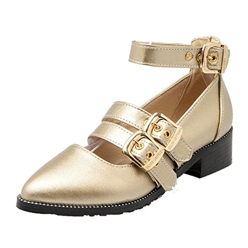 TAOFFEN Damen Gem¨¹tlich Mid Heel Blockabsatz Party Pumps Mit Schnalle Gold
