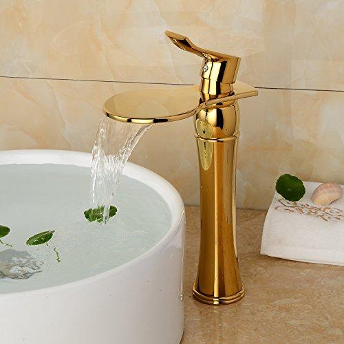 Preisvergleich Produktbild XX&GXM 2017 Neu Home deco-Stil in Europa blond heiße und kalte Kupfer Wasserfall Bad Waschtischmischer(Home Küchen, Geschenke zum Geburtstag, Valentinstag Geschenke)