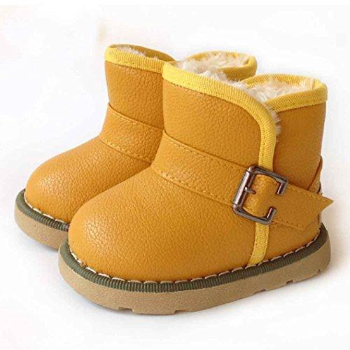 Chaussures Bébé,Fulltime® Bébés Garçons Filles Coton en cuir d'hiver Martin Boots Warm Chaussures Jaune