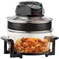 Electric Halogen Oven Air Fryer with Timer & Accesories, 1400W 17L by Cooks Professional (Black with 12 Accessories)