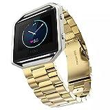 Fitbit banda de reloj, llmll [–] pcaro–Acero inoxidable Correa de Reloj de banda muñequera para Fitbit Blaze Activity Tracker Reloj gold watchband