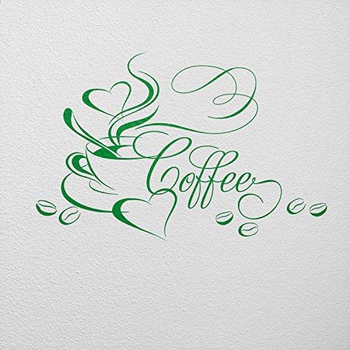 WANDfee Wandtattoo Kaffee Kaffeetasse Herz und Bohnen AA4510011 Größe 52 x 34 cm Farbe grün