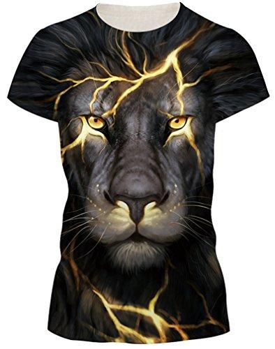 AMOMA Frauen Unisex Casual 3D-Printed T-Shirts Kurzarm-Oberseiten-T-Stücke GoldLion