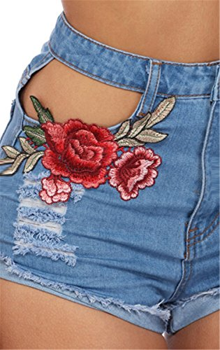 EMIN Damen Schlank Jeanshose Blumendrucken Hot Pants Short Hose mit Loch Fitness Blau