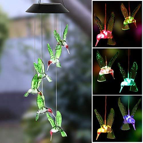 Outdoor windlights solarbetrieben LED Licht wechselt Farbe Kolibri Windspiel für Outdoor Garten Dekor Weihnachten