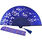 "Amajiji 8.27""(21cm) Hand Held Bamboo Silk Folding Fan Hand Fan,Chinese / Japanese Charming Elegant Vintage Retro Style,Women Ladys Girls Best Gifts (Blue)"