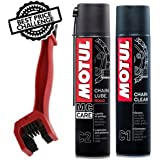 Grand Pitstop Motul Combo of C2 Chain Lube and C1 Clean with Cleaning Brush, 400ml (Red, BRC1C2400)