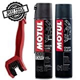 #9: Motul Combo of C2 Chain Lube and C1 Chain Clean (400 ml) with GrandPitstop Bike Chain Cleaning Brush Red