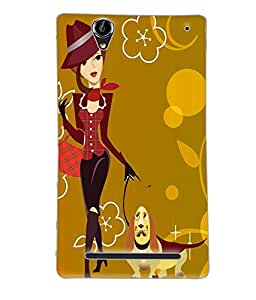 Fuson Cute Girl Back Case Cover for SONY XPERIA T2 ULTRA - D3642