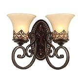 Retro Einfach Kreativ Wandleuchte Vintage Antik Nostalgie Innen Design 2-flammig Bronzer Wandlampe Rund Glas Lampenschirm für Wohnzimmer Schlafzimmer Esszimmer Esstisch Flur Lampe E27 Fassung Ø38CM