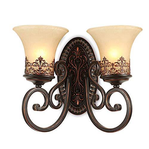 Retro Einfach Kreativ Wandleuchte Vintage Antik Nostalgie Innen Design 2-flammig Bronzer Wandlampe Rund Glas Lampenschirm für Wohnzimmer Schlafzimmer Esszimmer Esstisch Flur Lampe E27 Fassung Ø38CM - Antik Messing-kristall-wandleuchte