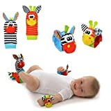 Demarkt Rasseln Spielzeug Baby Plüschtiere Kleinkindspielzeug Baby Rasseln Handgelenk und Socken für 0-6 Monate Baby