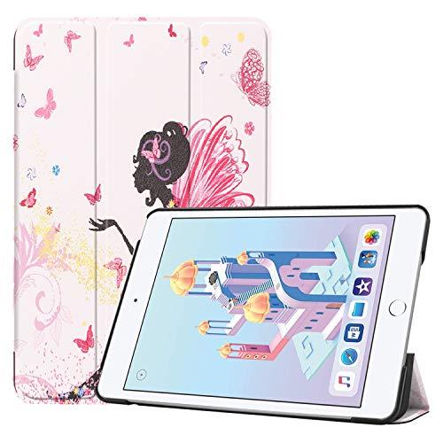 iPad Mini 5 Hülle, Folio Leder Smart Case mit Blumen-Design Auto Sleep/Wake Slim Trifold Stand Skin Hard Back Cover für iPad Mini 5th Generation 2019/iPad Mini 4 2015 Pink Beautiful Girl