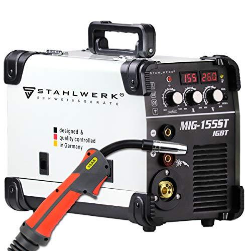 STAHLWERK MIG 155 ST IGBT - MIG MAG Schutzgas Schweißgerät mit 155 Ampere, FLUX Fülldraht geeignet, mit MMA E-Hand, weiß, 5 Jahre Herstellergarantie