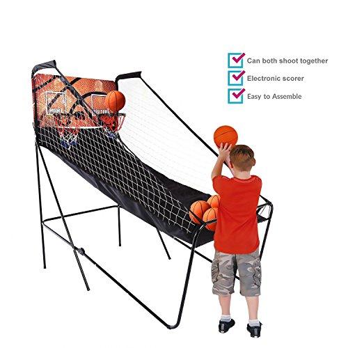 Befied Doppel Basketball Arcade Spiel Double Shot klappbar mit 5 Basketbälle, Pumpe elektronische automatische Score (Elektronische Basketball-arcade)