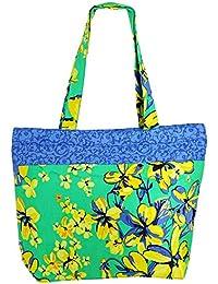La bolsa de asas de usos múltiples luz verde Shopping Bag de algodón con cierre de cremallera y dos asas