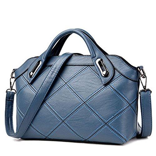 PU Leder Handtasche Damen Handtasche Schultertasche Mutter Tasche Handtasche Kreuzförmige Element Metall Griff Mode Obliquer Querschnitt-Bag, Dunkelblau Blau