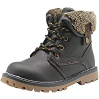 Apakowa New Boy's Winter Martin Boots (Toddler/Little Kid) (Color : Brown, Size : 10 M US Toddler)
