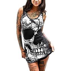 SHOBDW Las Mujeres de Moda del Cráneo Imprimieron el Mini Vestido Ocasional sin Mangas Delgado Atractivo Elegante del o-Cuello (M, Negro)