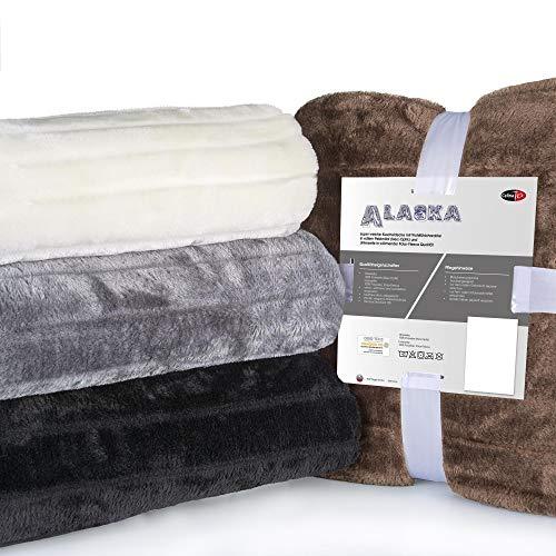 CelinaTex Alaska XXL-Kuscheldecke 200 x 240 cm schwarz Polar Fleece Sofadecke Felloptik Tagesdecke Fellimitat Wohndecke