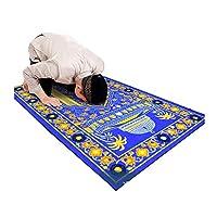 Islamic Prayer Rug Thick Muslim Prayer Rug Islam Traditional Design Nylon Prayer Carpet with Non-Slip Latex Bottom for Kids Man Women Prayer Mat Carpet Blue (blue)