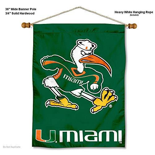 College Flaggen und Banner CO. Miami Hurricanes Banner mit Stange Zum Aufhängen
