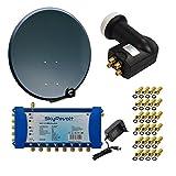 PremiumX Digital HD SAT Anlage Antenne 100 cm ALU Anthrazit mit SkyRevolt Multischalter SV 5/8 Multiswitch Sat-Verteiler + SkyRevolt Quattro LNB HDTV + 24x F-Stecker
