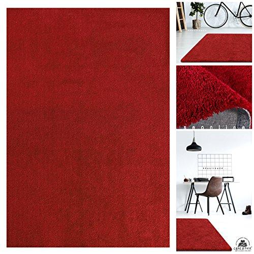 Handgefertigter Extrem Weicher Handtuft Teppich Einfarbig in Signal-Rot | Hochwertige Oeko-Tex Teppiche geeignet auch als Kinderteppiche und Babyteppiche | Flauschiger Uni Hochflor Shaggy Läufer, Größe:200x290 cm