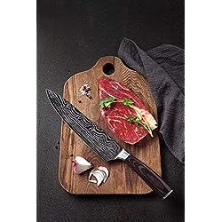 Yushu - Couteau de Cuisine, Couteau Damas, Couteau de Chef Professionnel Japonais, Lame de 20cm en Acier Carbone Inoxydable, Lame tranchante, Poignée Ergonomique antidérapante - Boite Cadeau