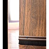 Deco Window Door Seal Bottom Brush Dust Stopper Strip For Home (94cm/36.5inch) Aluminium Plate With Nylon Brush - Brown